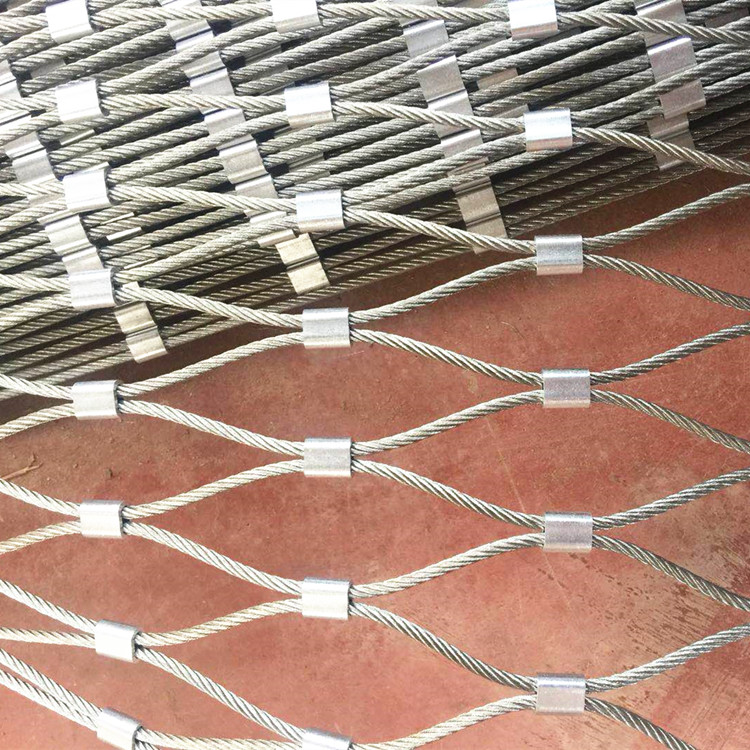 50mm x 50mm flexible stainless steel wire rope mesh net with ferrule