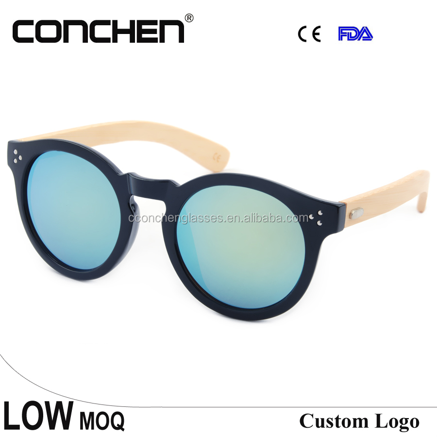 UV400 lens glasses metal hinge magnifying bamboo temple clear fashion sunglasses