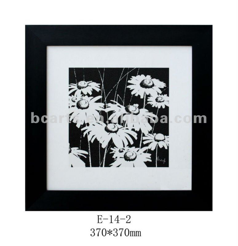 Black and white Framed mat board painting print art for office decor