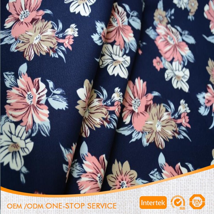 Fashion elastic cotton twill printed fabric for dress