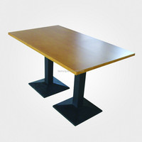 customized wood restaurant tables with metal base TA-017