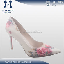 Sexy Flower printing upper with red bottom heels,Genuine leather high heel shoes