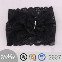 Fashion design baby flower head wrap wholesale lace headbands