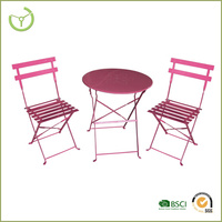 3pc metal bistro set kids folding table and chair