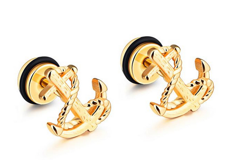 Nice Anchor charm Vintage earrings,Shiny gold plating stud earrings