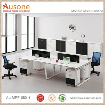 Trapezoidal Steel Frame Modern 2 Person Office Workstation Partition