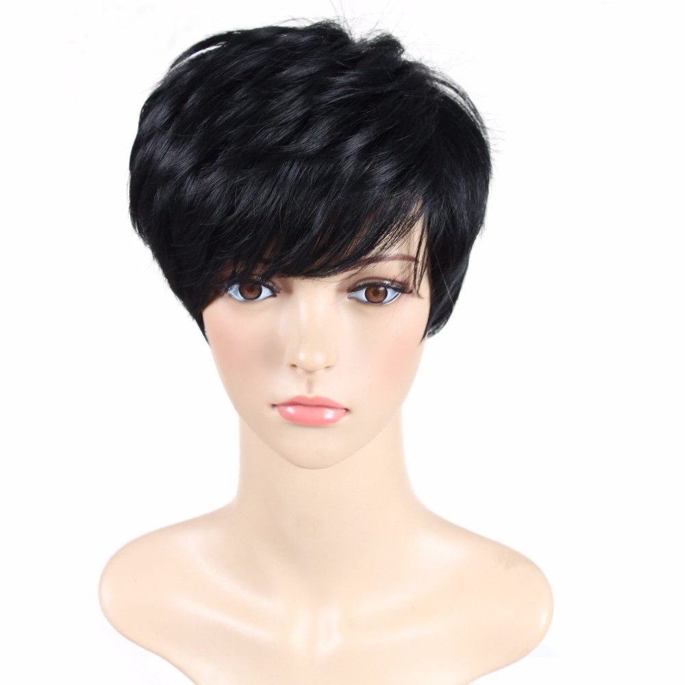 Factory Price Women's Wigs Black Short Straight Synthetic Wigs With Heat Resistant Fiber Wig American African Women Hair