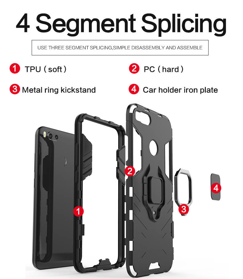 Bracket Magnet Suction Ring Holder TPU PC hybrid phone case for xiaomi 5x back cover