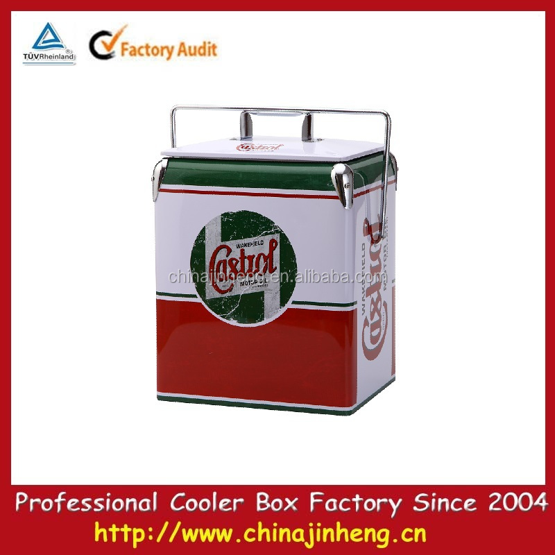 Retro Castrol 17L metal portable ice cooler box with lid/Portale Mini Retro Cooler with Handle