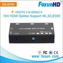 FOXUN hot koop product SX-SP02 1x4 HDMI Splitter, ondersteunt 3D, 4Kx2K @ 60Hz (YUV 4:2:0), HDCP, EDID 4 port hdmi splitter