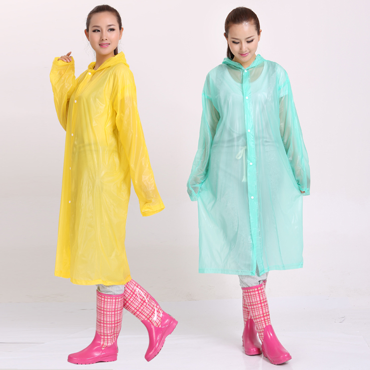 mens or women sexy yellow or transparent long hooded pvc raincoat