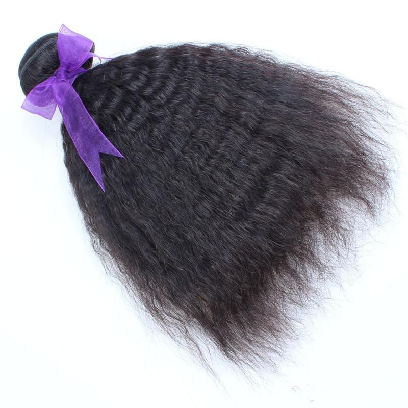6A Kinky Straight Hair Weaving Brazilian Human Har Double Weft Coarse Yaki Straight Hair Bundles Brazilian Virgin Har Weave