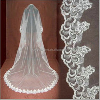 Factory Wholesale High Quality Tulle Long Embroidered Lace Bridal Veil One layer Customized Indian Wedding Red/ Champagne Veil