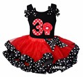 Red Black Polka Dots Satin Trimmed Tutu with Number 3 Cupcake Hot Pink Tank Top
