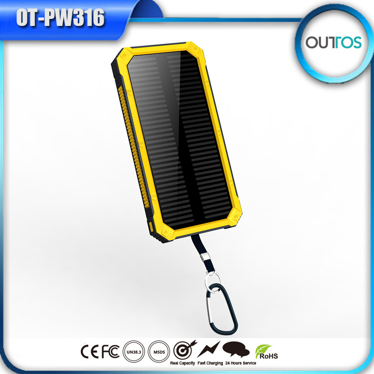 Promotional 12000mah power bank portable solar phone charger with camping light