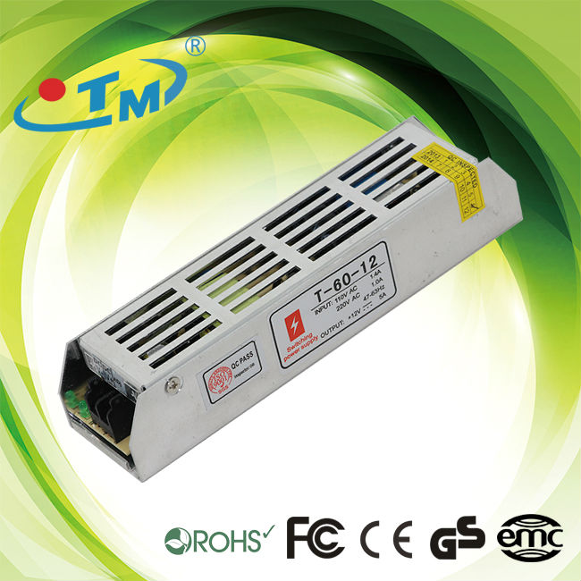 constant voltage led driver circuit 60w 12 volts 5 amp led driver with CE,FCC,Rohs