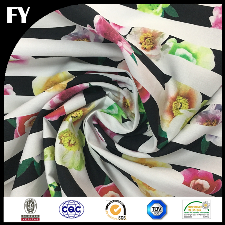 Factory direct custom Digital Printed Floral Cotton Poplin Fabric