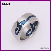 Wholesale fashion Jewelry 316L Letter Logo 1 Gram Gold Ring For Men