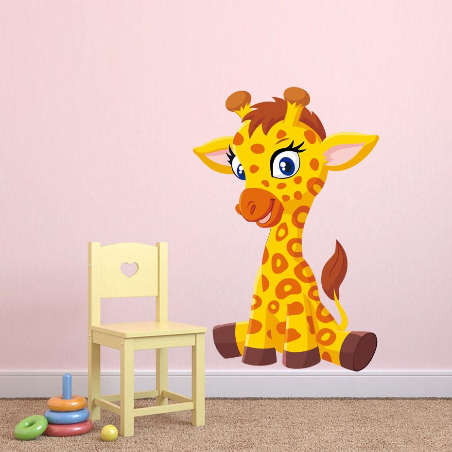 Cute baby Giraffe Full Color Wall Stickers For Kids Room Nursery ...