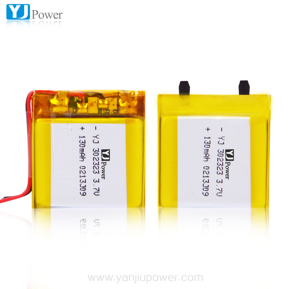302323 3.7v 130mah polymer rechargeable battery