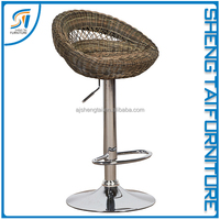New Design Brown Swivel Rattan Bar Stool For Sale