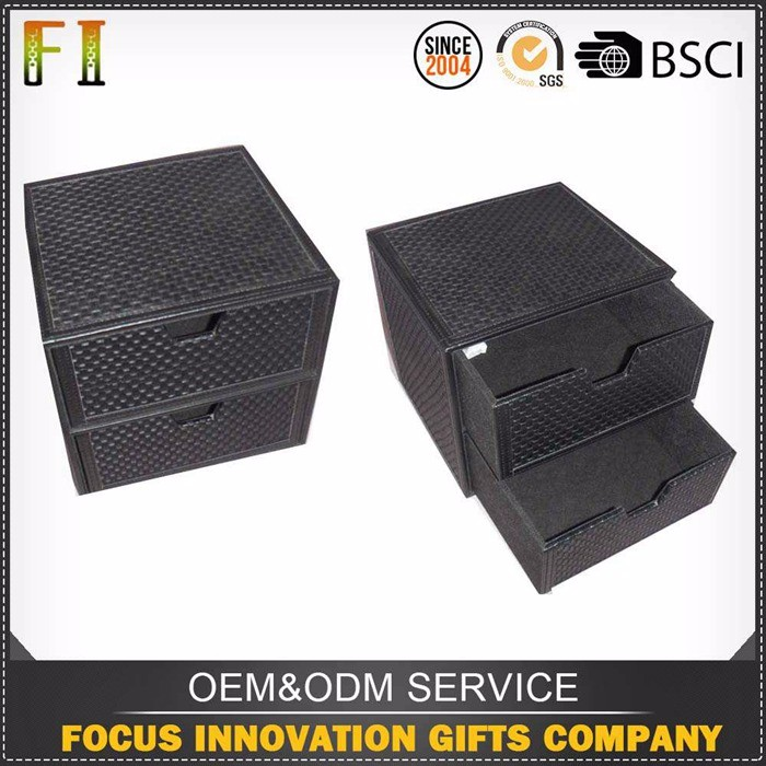 High quality decorative leather storage box with 2 drawers