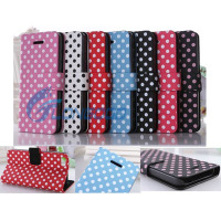 Flip Stand Polka Dot Folio Book PU Leather Case Cover For New iPhone 5C
