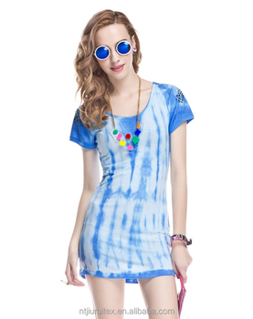 women Tie Dye rayon/stretch jersey Dress, women tie dye t-shirt dress