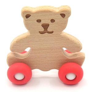 Wooden educational drag toy car with bear drums and toddler animal car