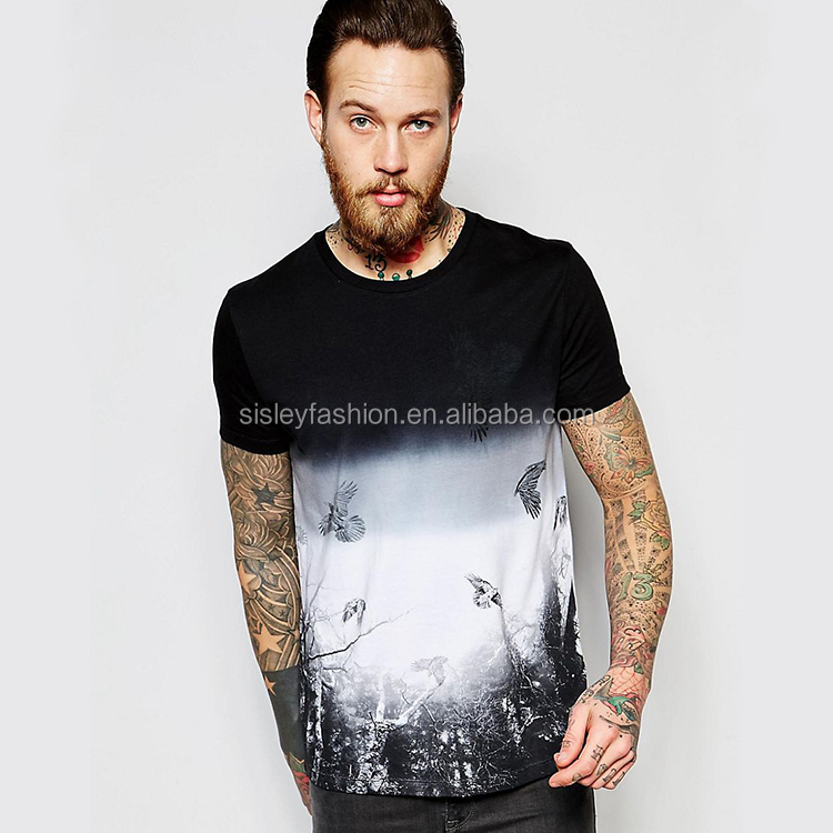2016 Fashion Men's T Shirt with Bird Print Shirt and Dip Dye