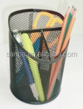 Metal Mesh Round 3 Compartments Desk Pen Holder