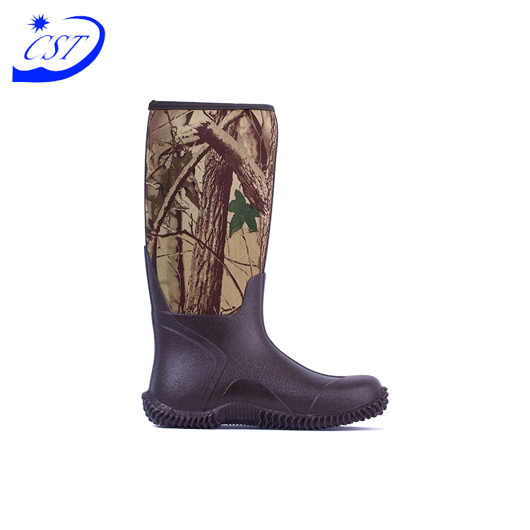 Well Sale Safety Item Cotton Fabric Neoprene Casual Leather Camouflage Hunting Boots Waterproof