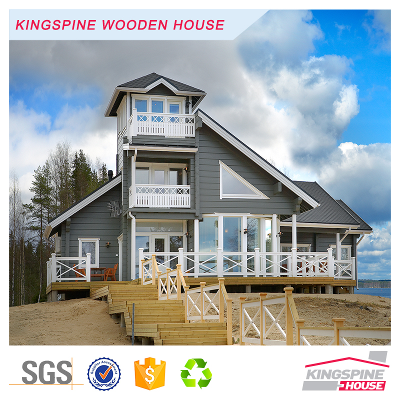 Beautiful Beach Villa Prefabricated Log Cabin Wooden House KPL-023