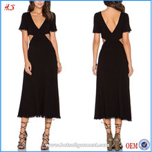 Buy Direct from China Manufacturer Latest Fashion Dress Design Photo Double V Neck One Piece Plain Black Dress