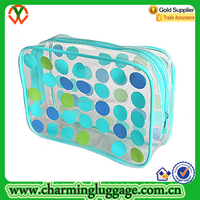 Waterproof Clear PVC Polka Dots Cosmetic Toiletry Pouch for Womens