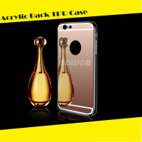 Luxury Acrylic Back Cover Mirror TPU Cell Phone Case For iphone 6/ 6s/ 6 plus/ 6s plus/ 5s