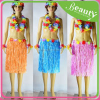 Hawaiian Fancy Dress Hula Skirt With Flowers, EH087 5pcs/lot long 40cm plastic game show supplies grass skirt with flowers