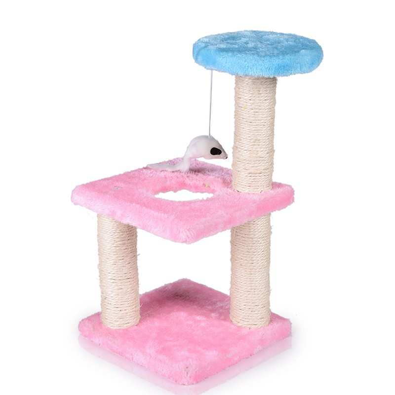 Pink Sisal cat tree cute plush toy mouse