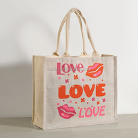 Promotional slogan jute shopping bag