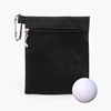 Golf Ball Storage Sack Black Zipper Nylon Golf Pouch with Hook