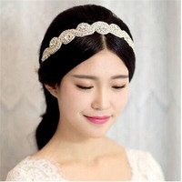 BSCI Audit Factory Wholesale Handmade Wide Crystal Stretch Rhinestone Beaded Headband For Wedding Bridal Hair Accessories
