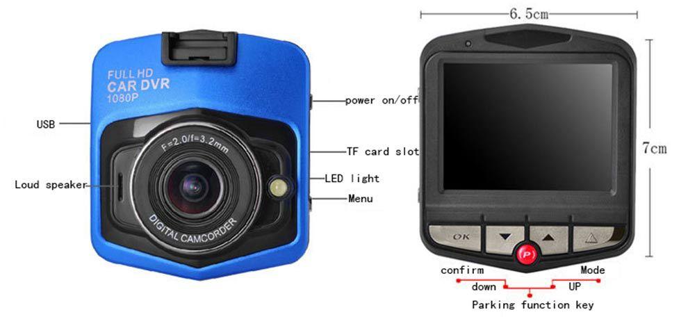 Dash cam 2.4 pouce FHD 1080 P Driing Caméra Enregistreur 2017
