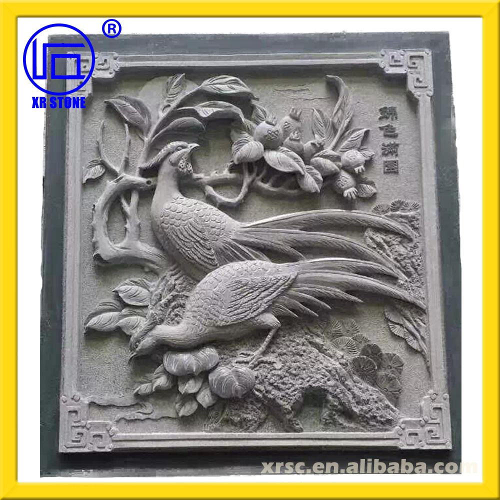 cheap price green sandstone animal relief to decorate wall