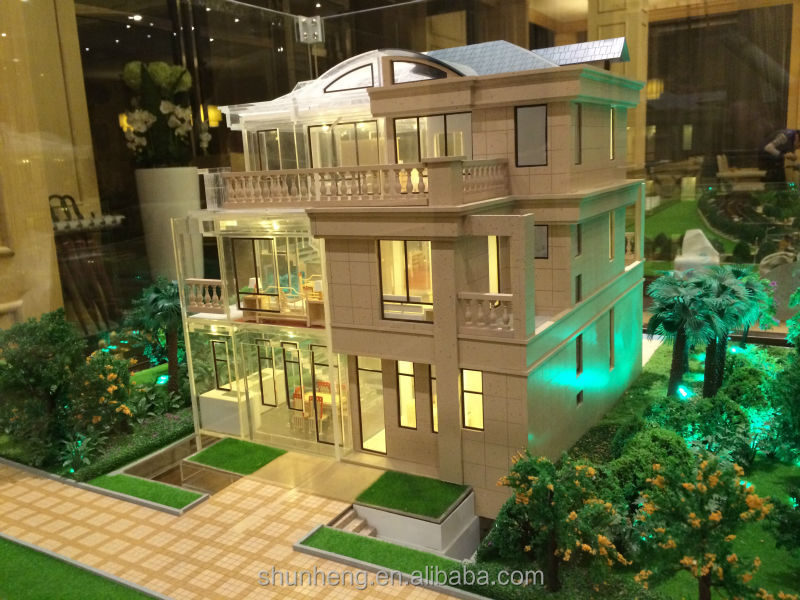 China wholesale 3D plexiglass house model for villa design layout