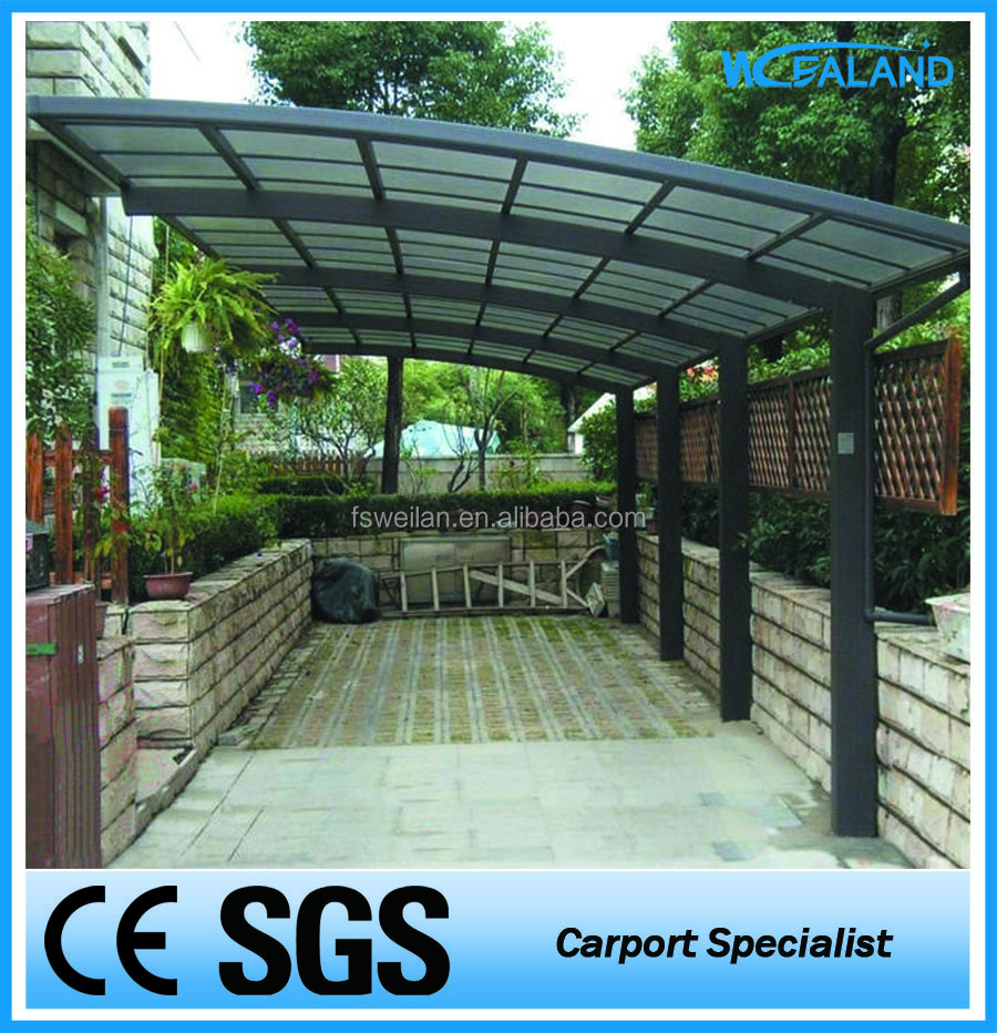 Single polycarbonate metal carports attached to house