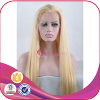 Blond Full Lace Wig Brazilian Silky Straight Remy 613 Blonde Human Hair Lace Front Wig with Baby Hair for Young Pretty Girl
