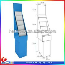 New design elegant 5 tiers floor book cardboard display, floor pallet display shelf ,corrugated paper display stand/ rack