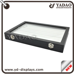 High end lockedring clear glass lid and foam slots wood silver serving display plates
