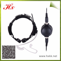 big PTT silicone acoustic ear tube military throat microphone for two way radio