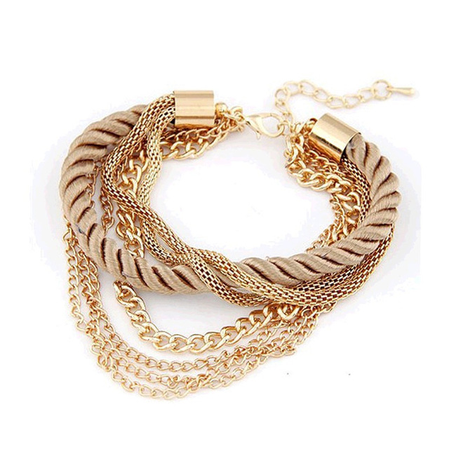 2016 NEW Fashion Design Girl Jewelry Handmade Rope Chain Decoration Bracelet Charm Bangle Wholesale